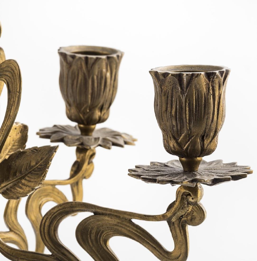 Pair of French Art Nouveau candelabra in gilt bronze - 3
