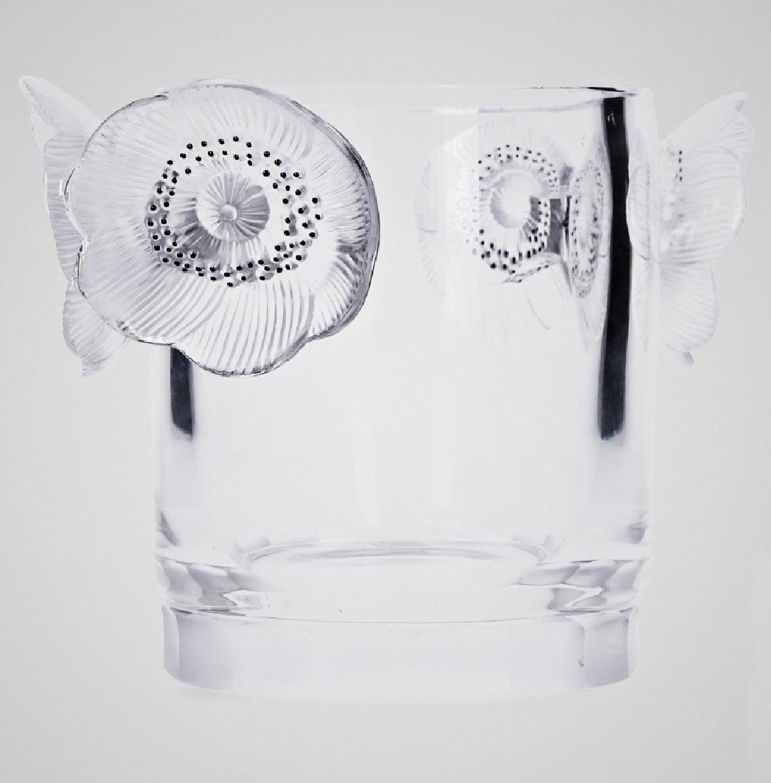 Lalique manufacture, Vase with floral handles, Moulded,