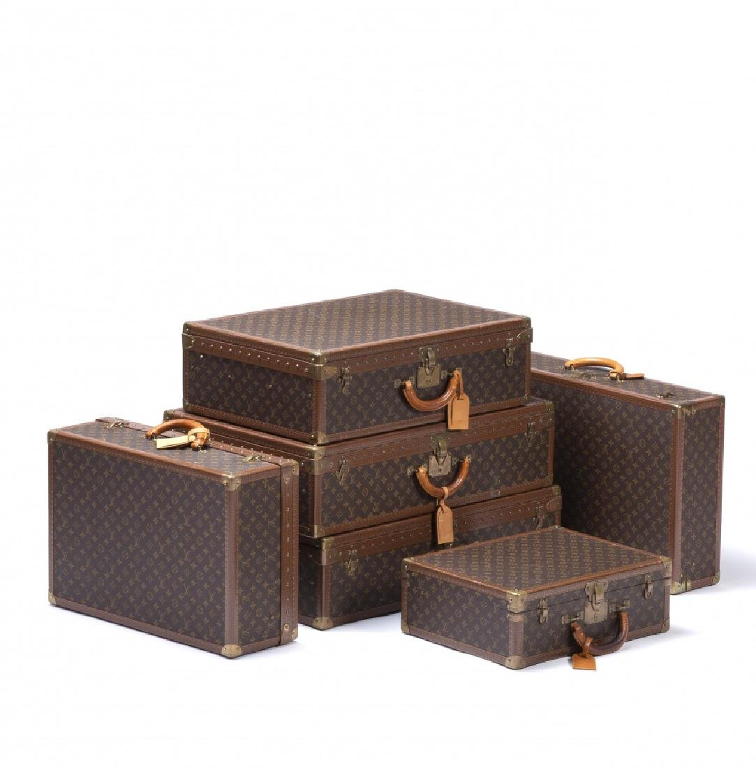 "Louis Vuitton, Set of six suitcases in ""monogramme"""
