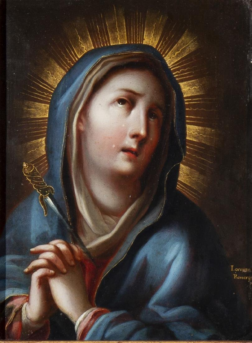 Lorenzo Romero, Our Lady of Sorrows, Oil on copper