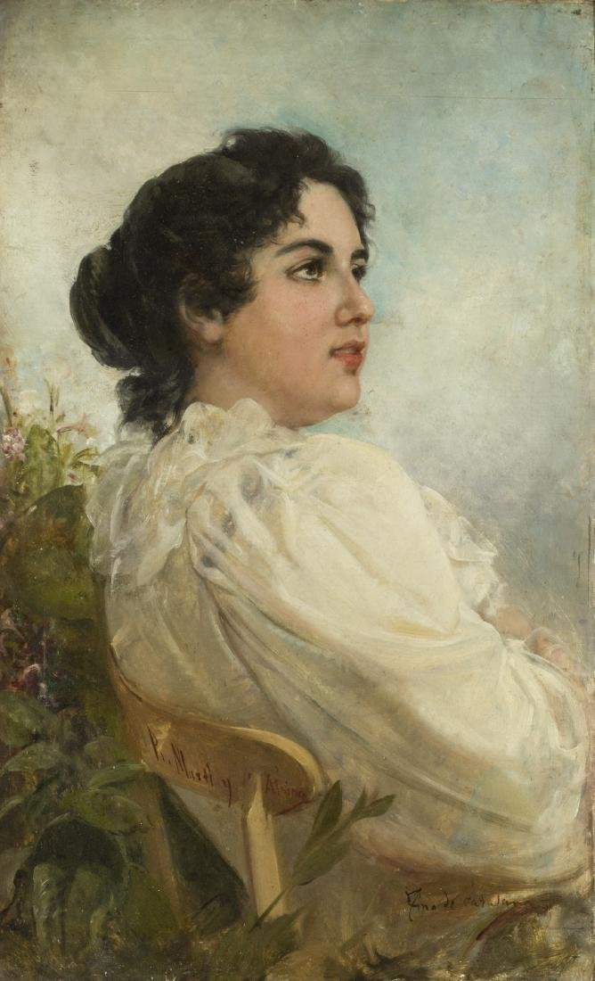 "Ramon Martí Alsina, ""Fina de catalana"", Oil on canvas"