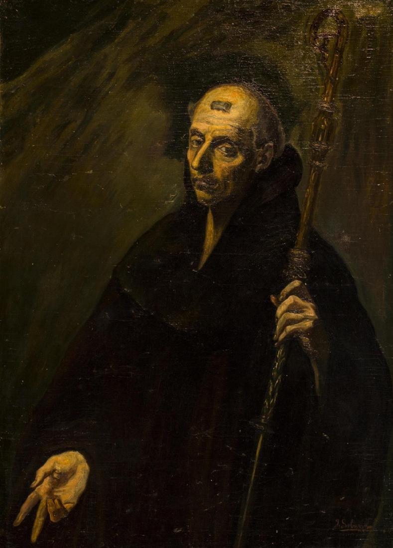José Gutiérrez Solana, Saint Benedict, Oil on canvas