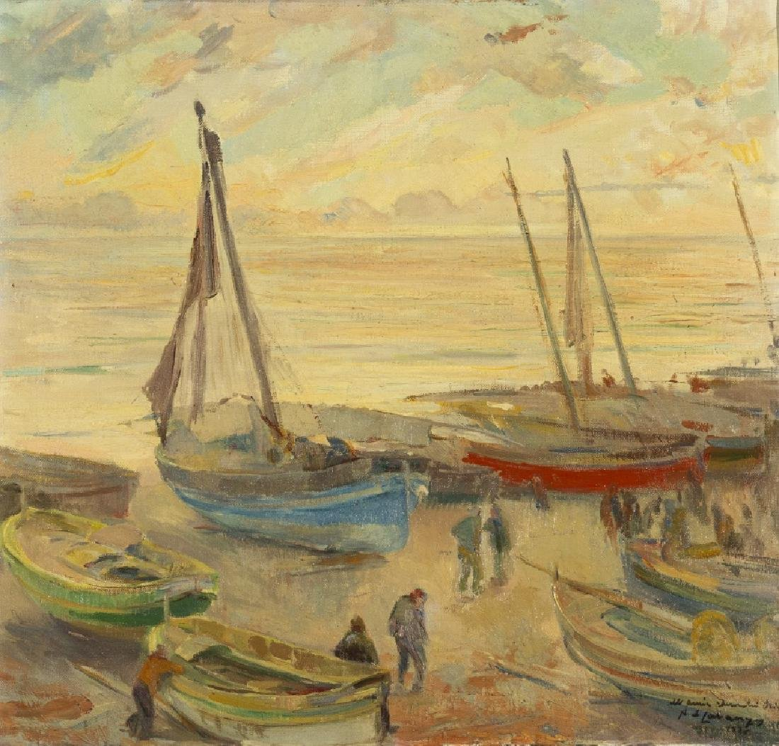 Alexandre de Cabanyes, Boats on the beach, Oil on