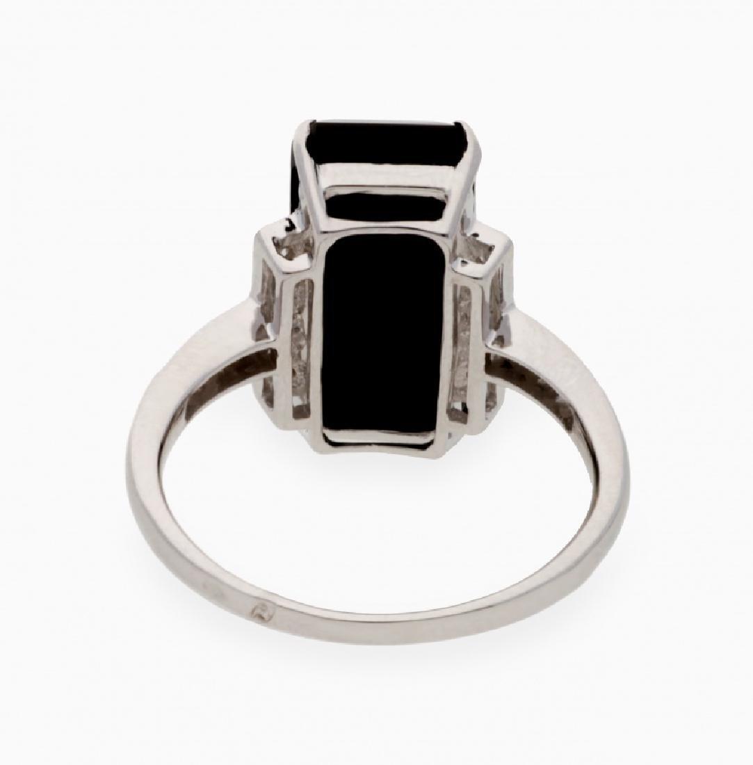 Onyx and diamonds ring - 2