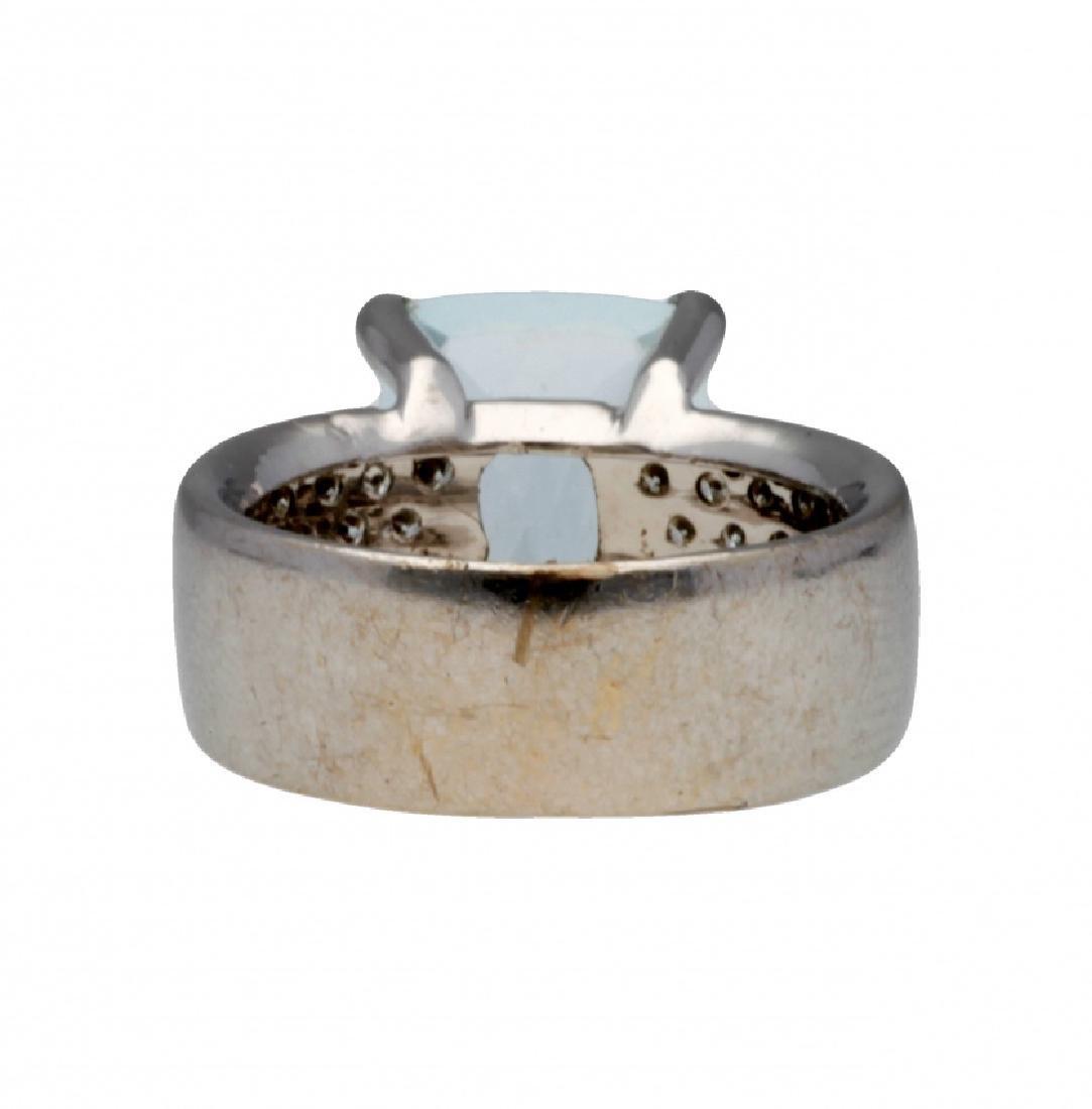 Aquamarine and diamonds ring - 2