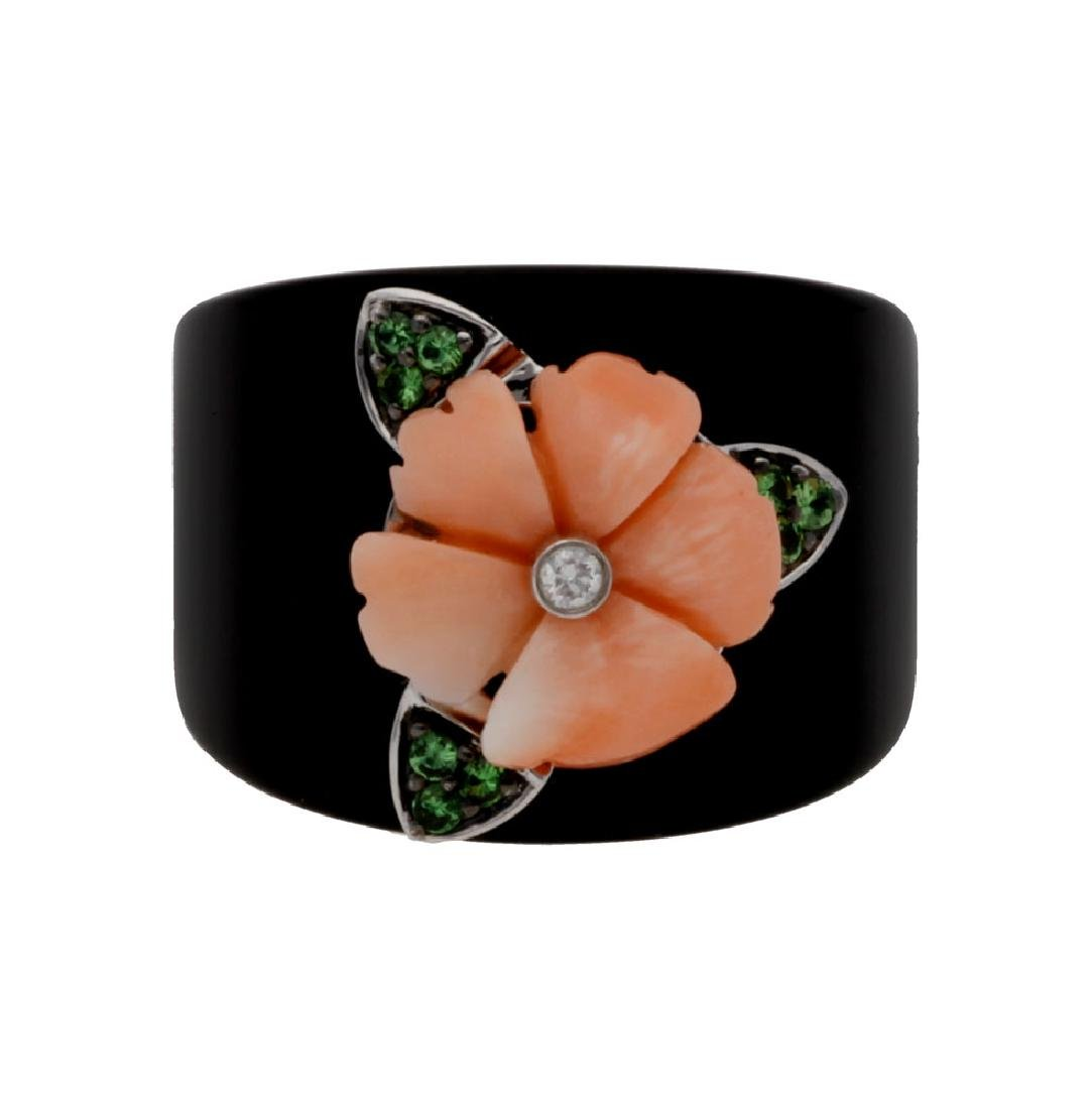 Onyx and coral floral ring
