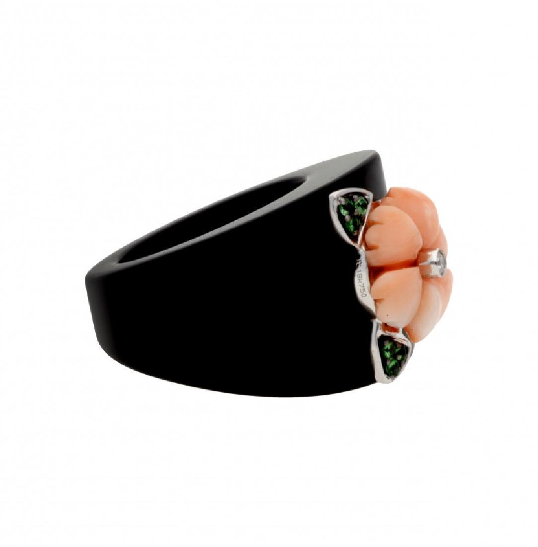 Onyx and coral floral ring - 2