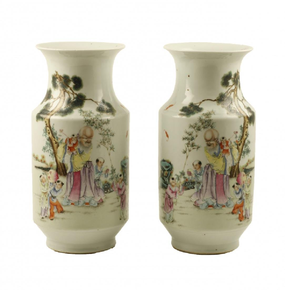 Pair of Chinese porcelain vases, late 19th Century