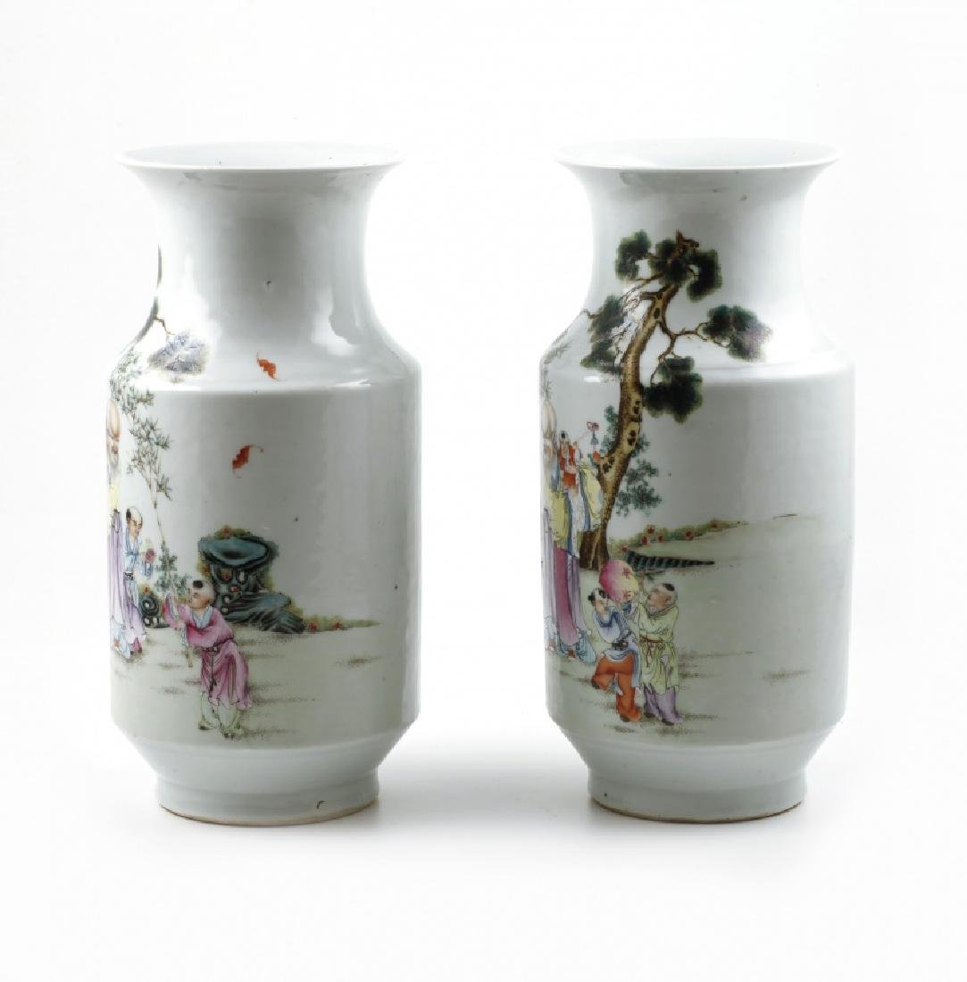 Pair of Chinese porcelain vases, late 19th Century - 2