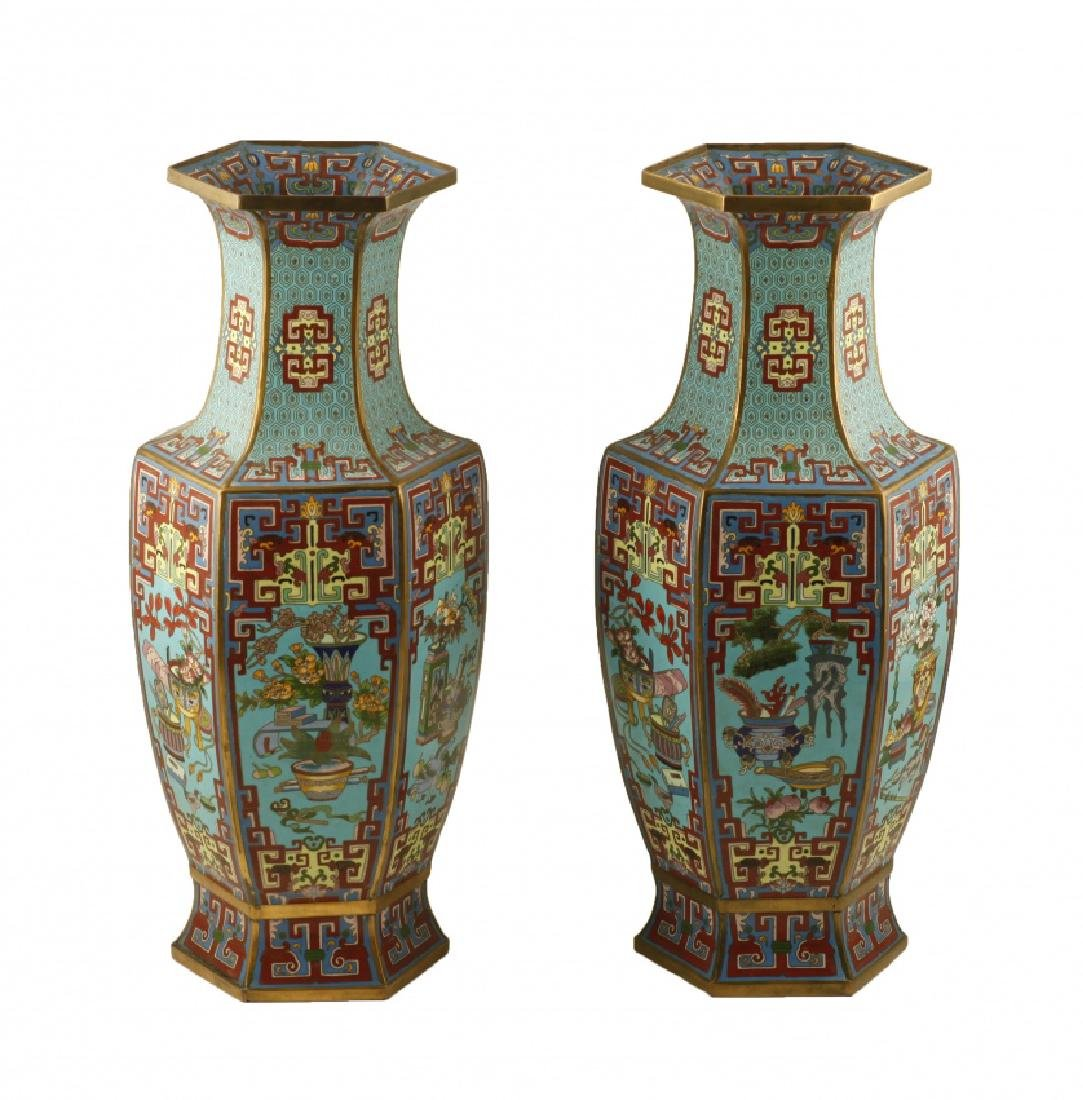"""Pair of Chinese vases in """"cloisonné"""" enamelled bronze,"""