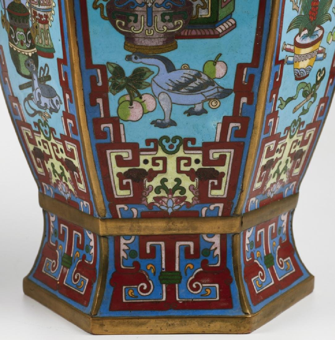 """Pair of Chinese vases in """"cloisonné"""" enamelled bronze, - 3"""