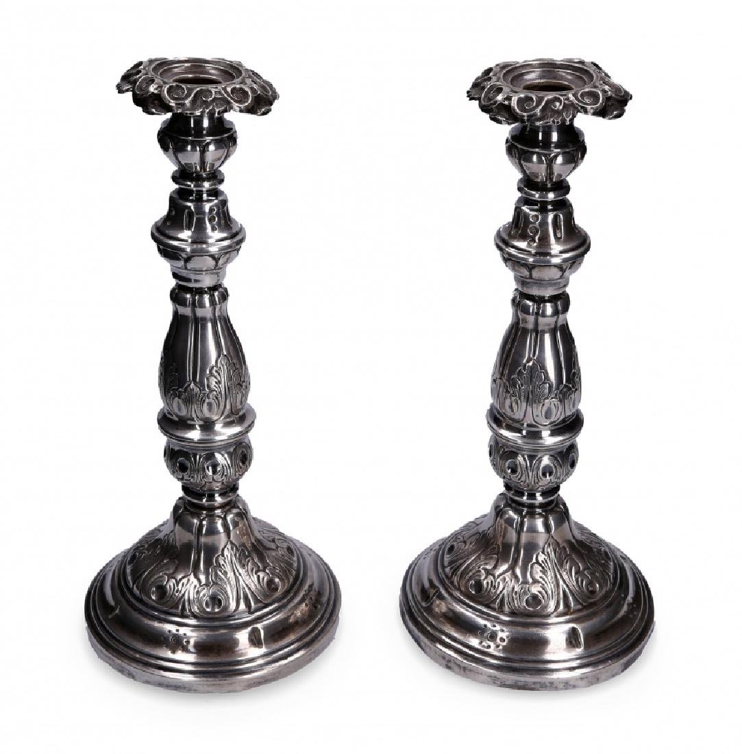 Pair of Barcelona silver candlesticks, second half of