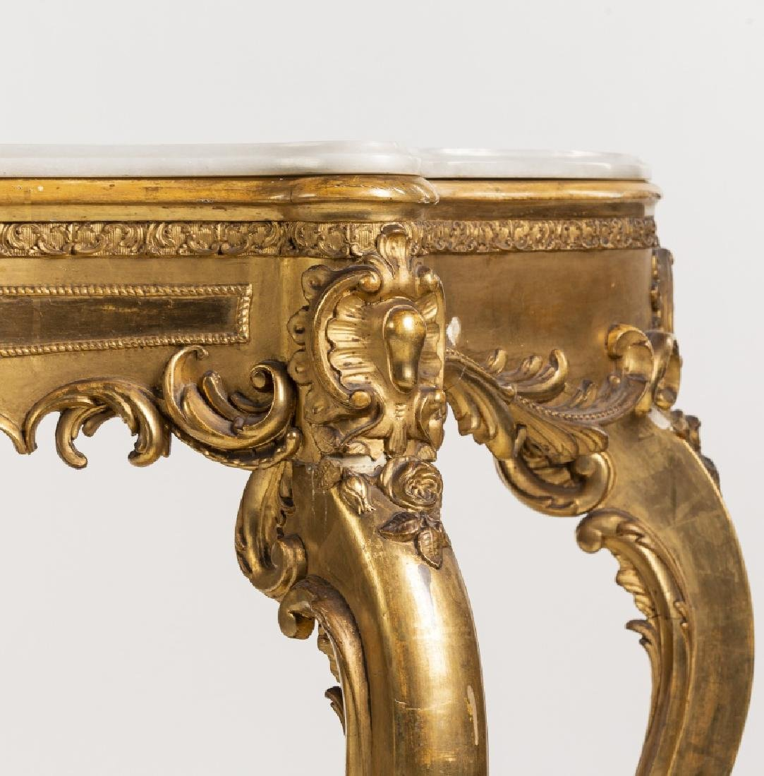 Elizabethan Louis XV-style console with mirror in - 3