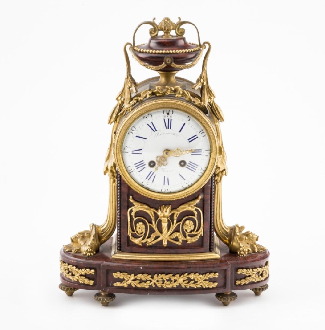 French Napoleon III table clock in marble and bronze,