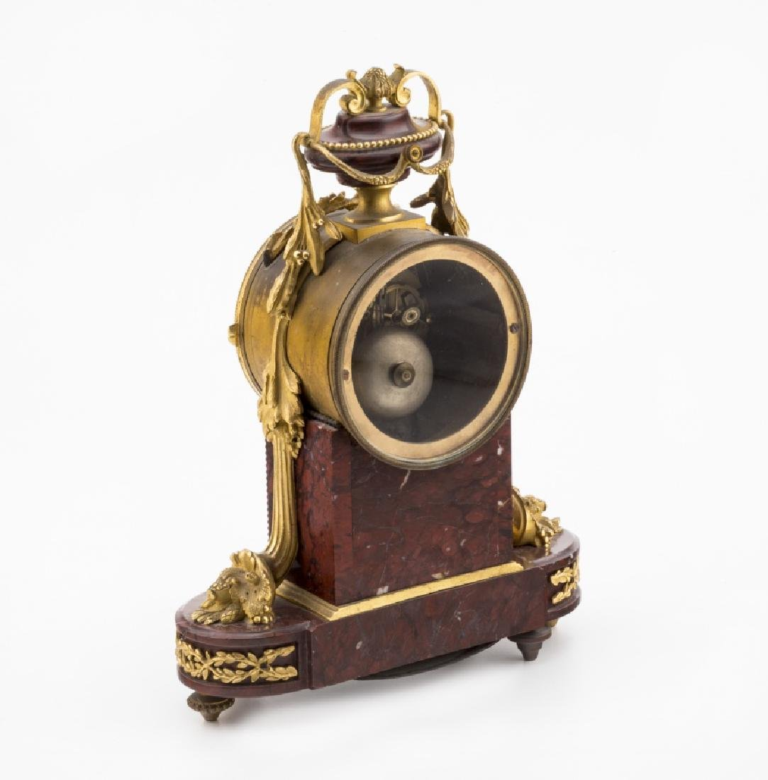 French Napoleon III table clock in marble and bronze, - 2