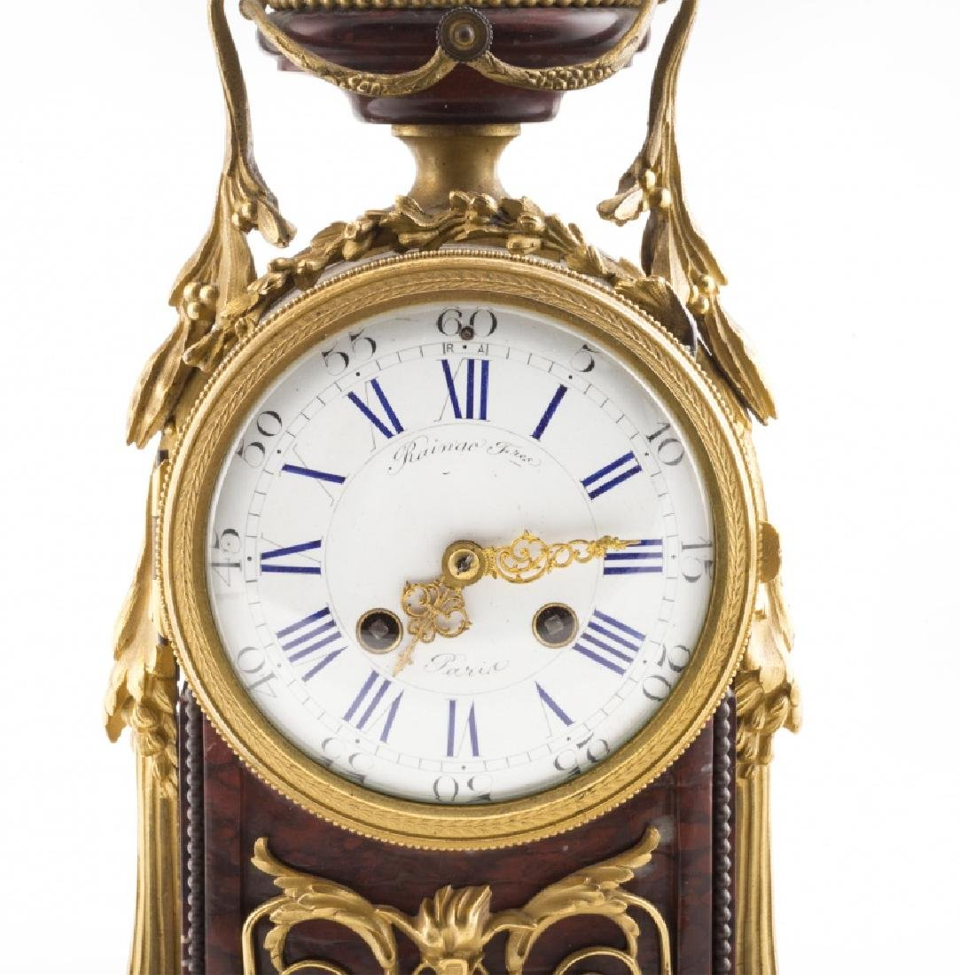 French Napoleon III table clock in marble and bronze, - 6