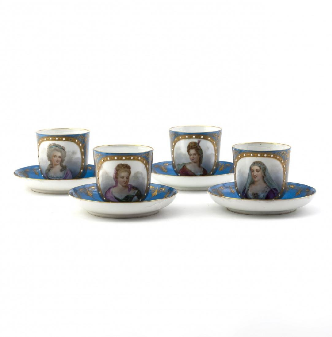 Set of eighteen coffee cups with their saucers in