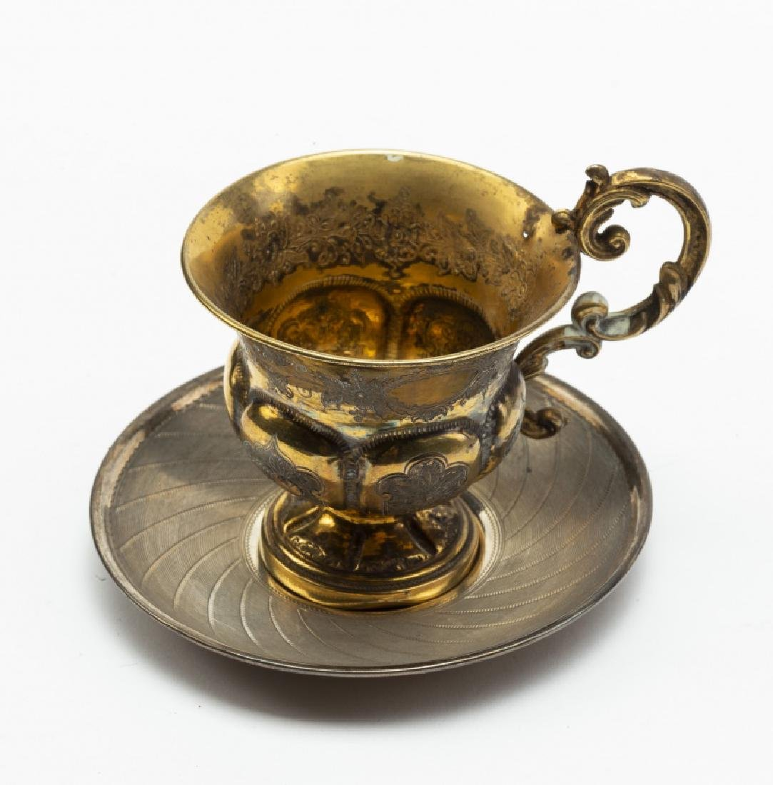 Six French cups with their saucers and a Cordoban cup - 3