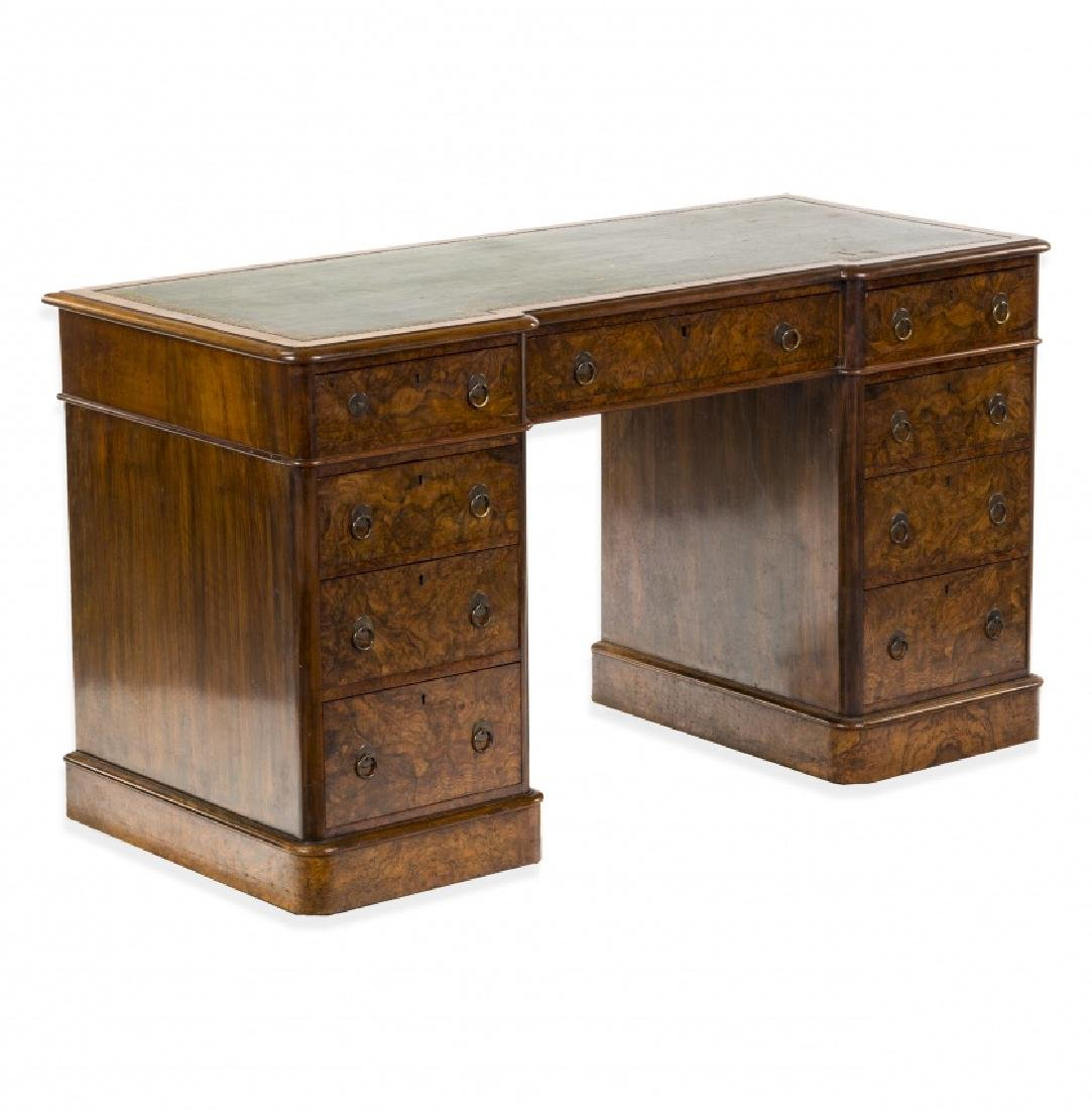 Victorian pedestal desk in walnut and walnut root, late