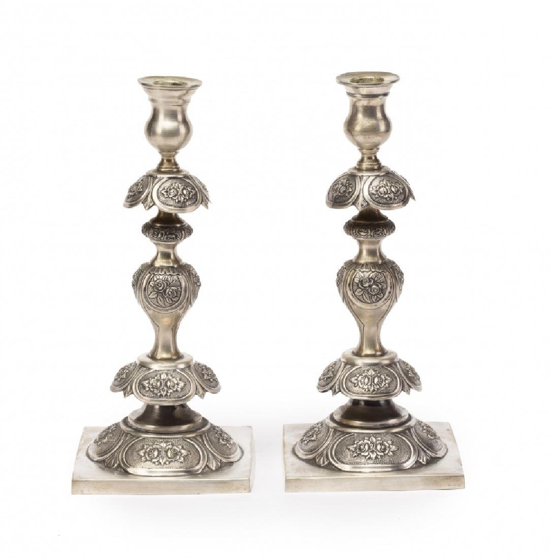 Pair of Slavic silver candlesticks, probably from the