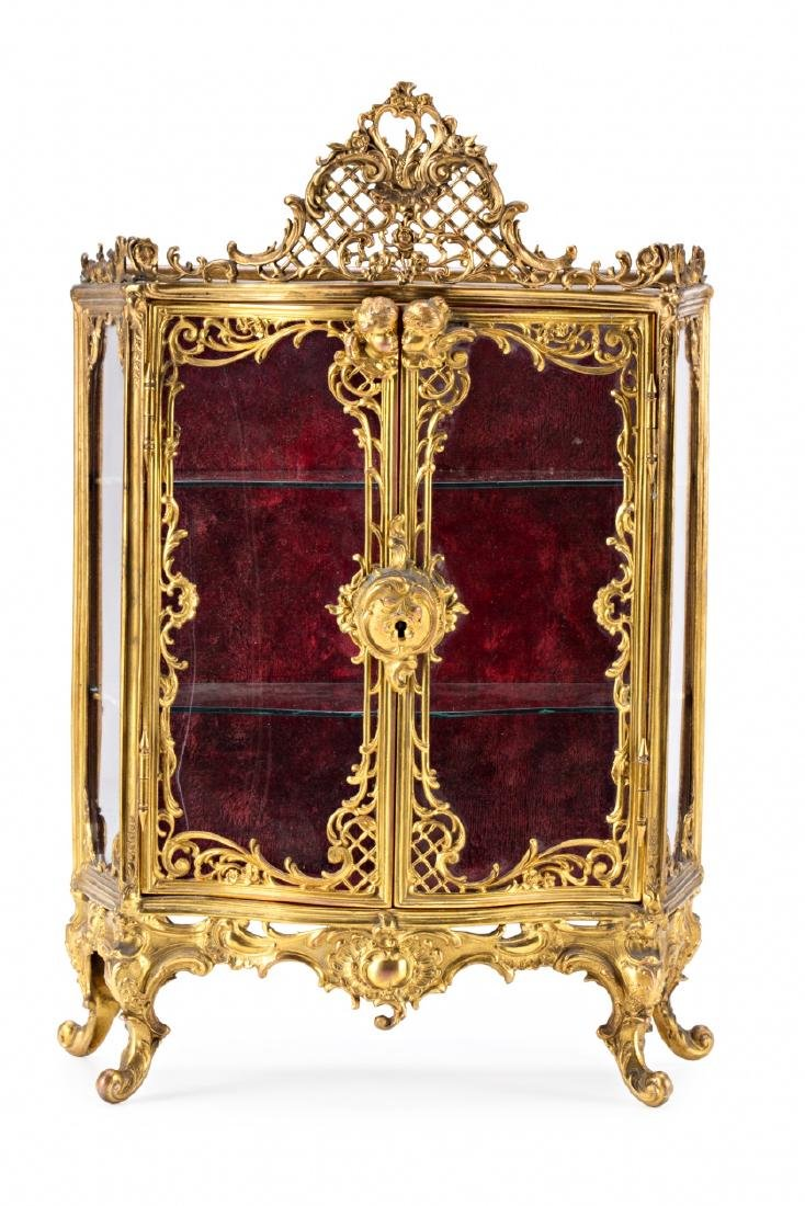 French miniature display cabinet of Rococo sytle in