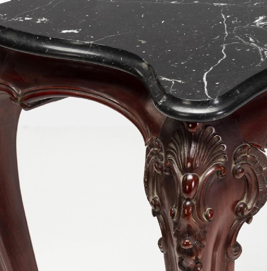Pair of Louis XV style consoles in carved mahogany, - 2