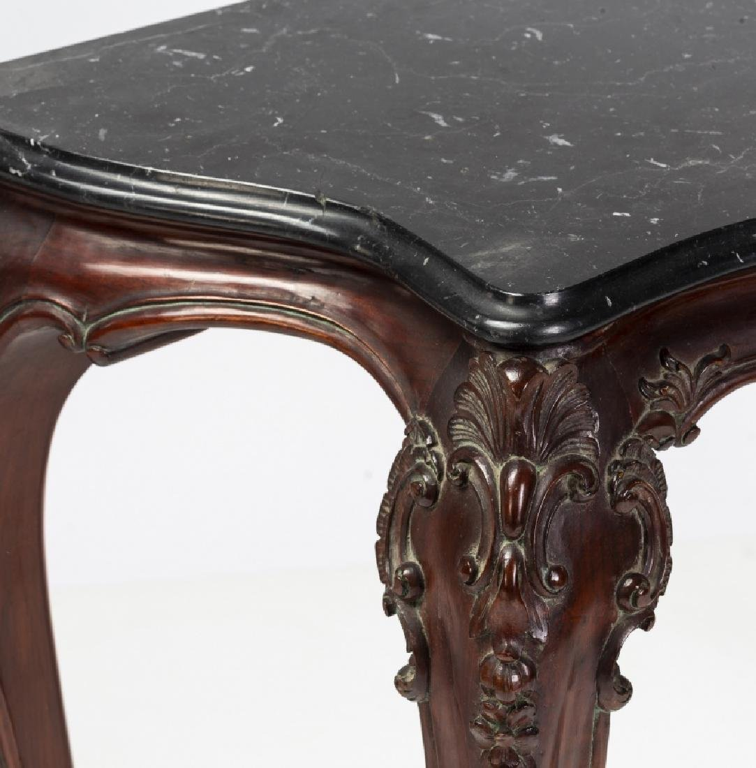 Pair of Louis XV style consoles in carved mahogany, - 3