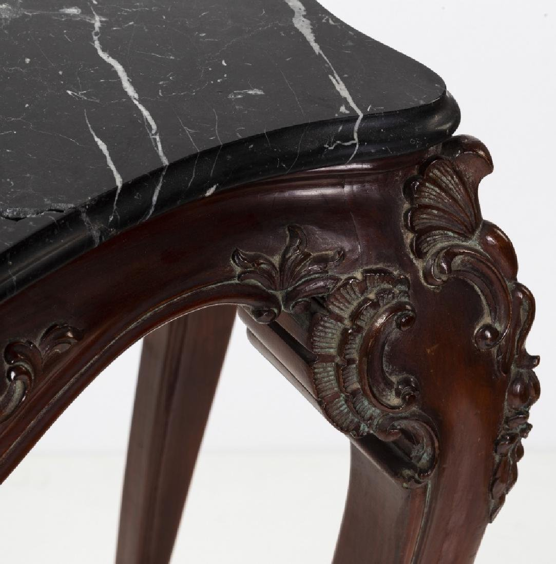 Pair of Louis XV style consoles in carved mahogany, - 4