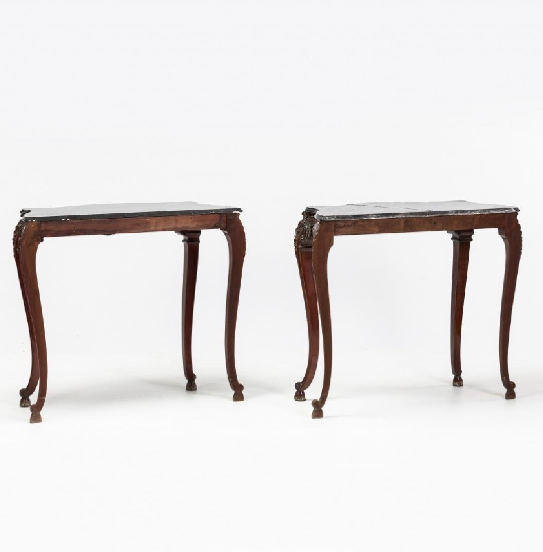 Pair of Louis XV style consoles in carved mahogany, - 5