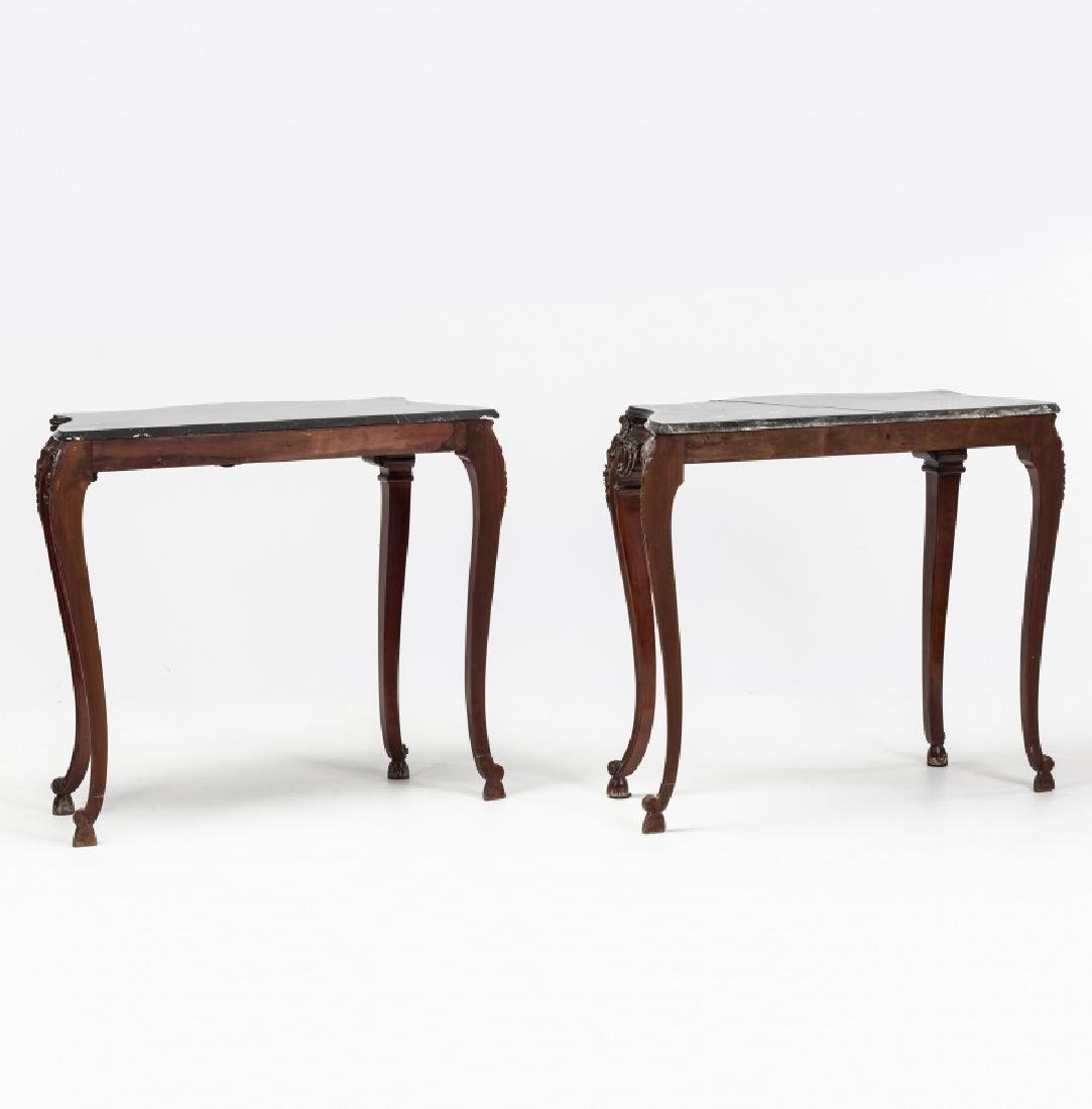 Pair of Louis XV style consoles in carved mahogany, - 6