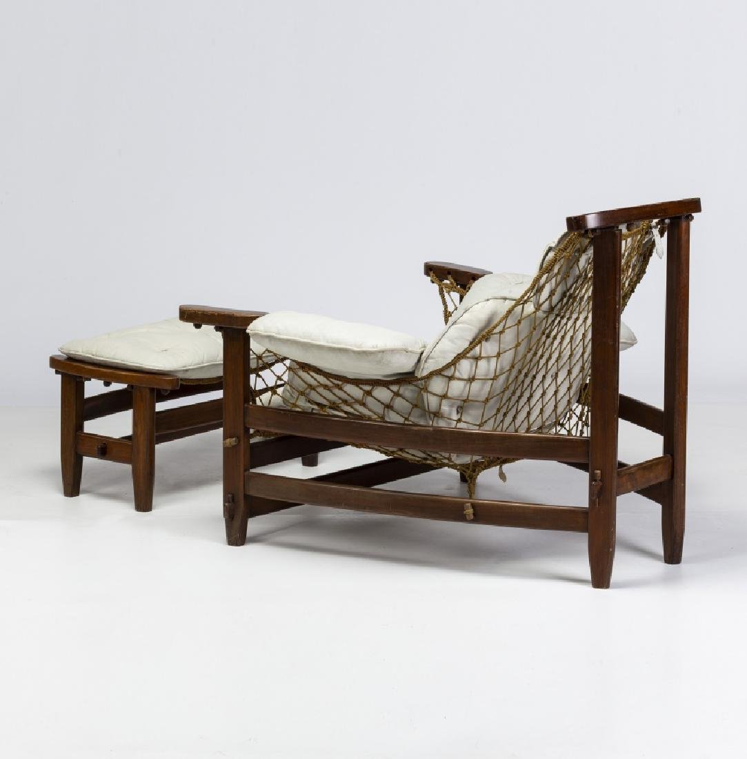 "Jean Gillon, ""Captain's"" armchair with ottoman, - 5"