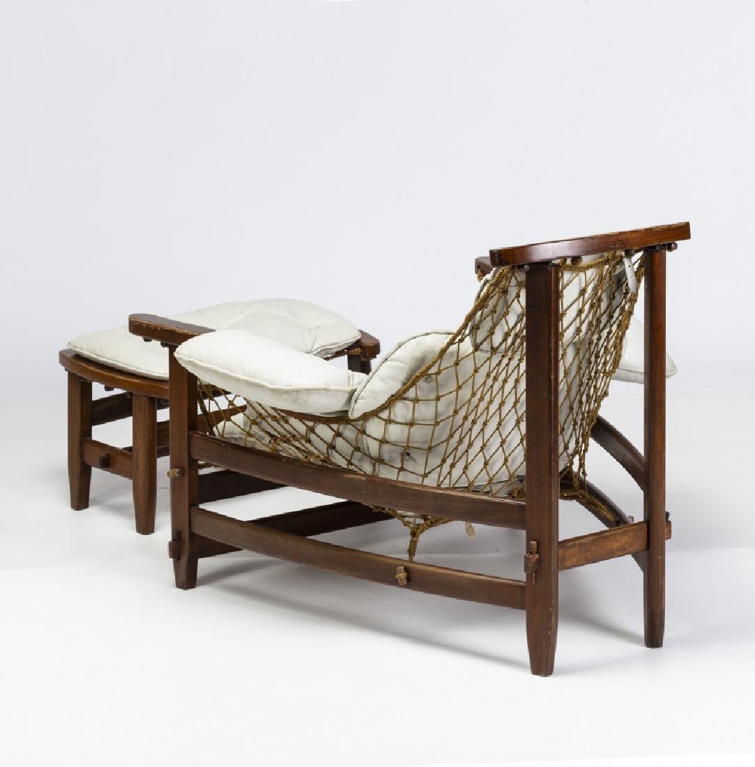 "Jean Gillon, ""Captain's"" armchair with ottoman, - 6"