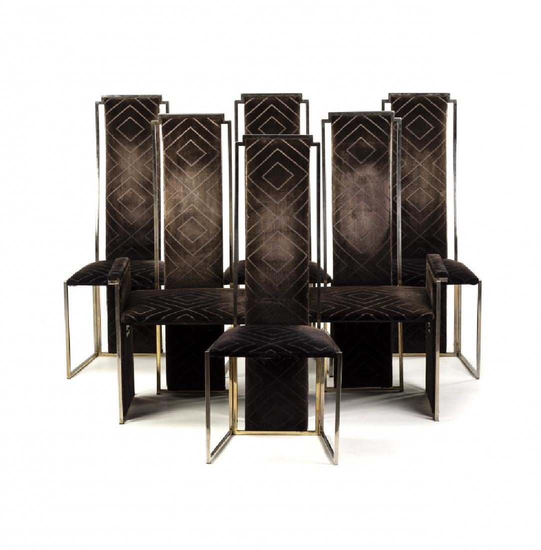 Willy Rizzo, Set of four chairs and two armchairs,