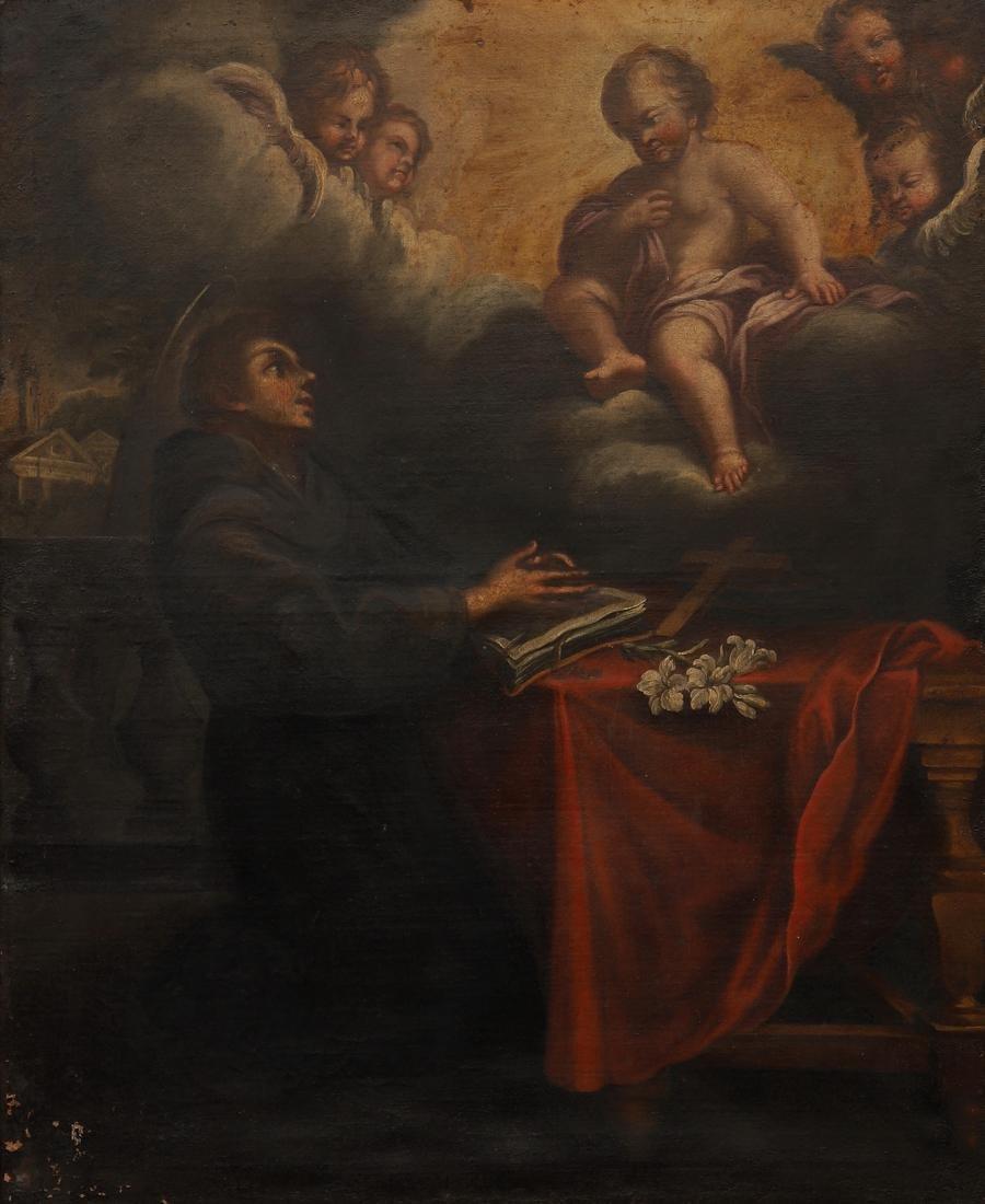 SPANISH SCHOOL, 17TH CENTURY. The vision of Saint
