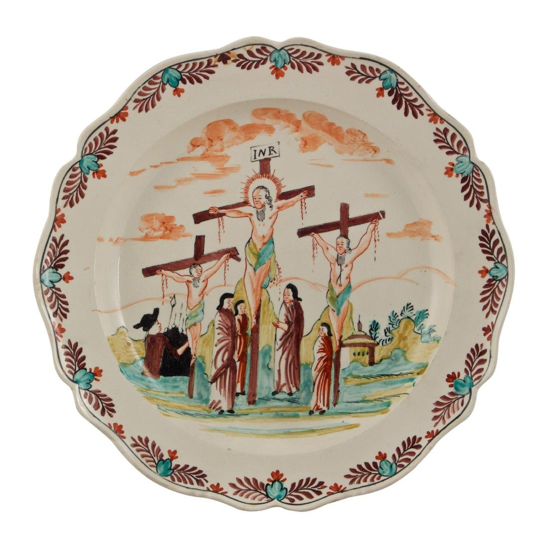 Creamware Plate With Crucifixion Scene