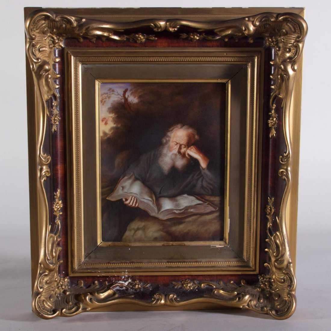 Hand Painted Porcelain Plaque of Scholar