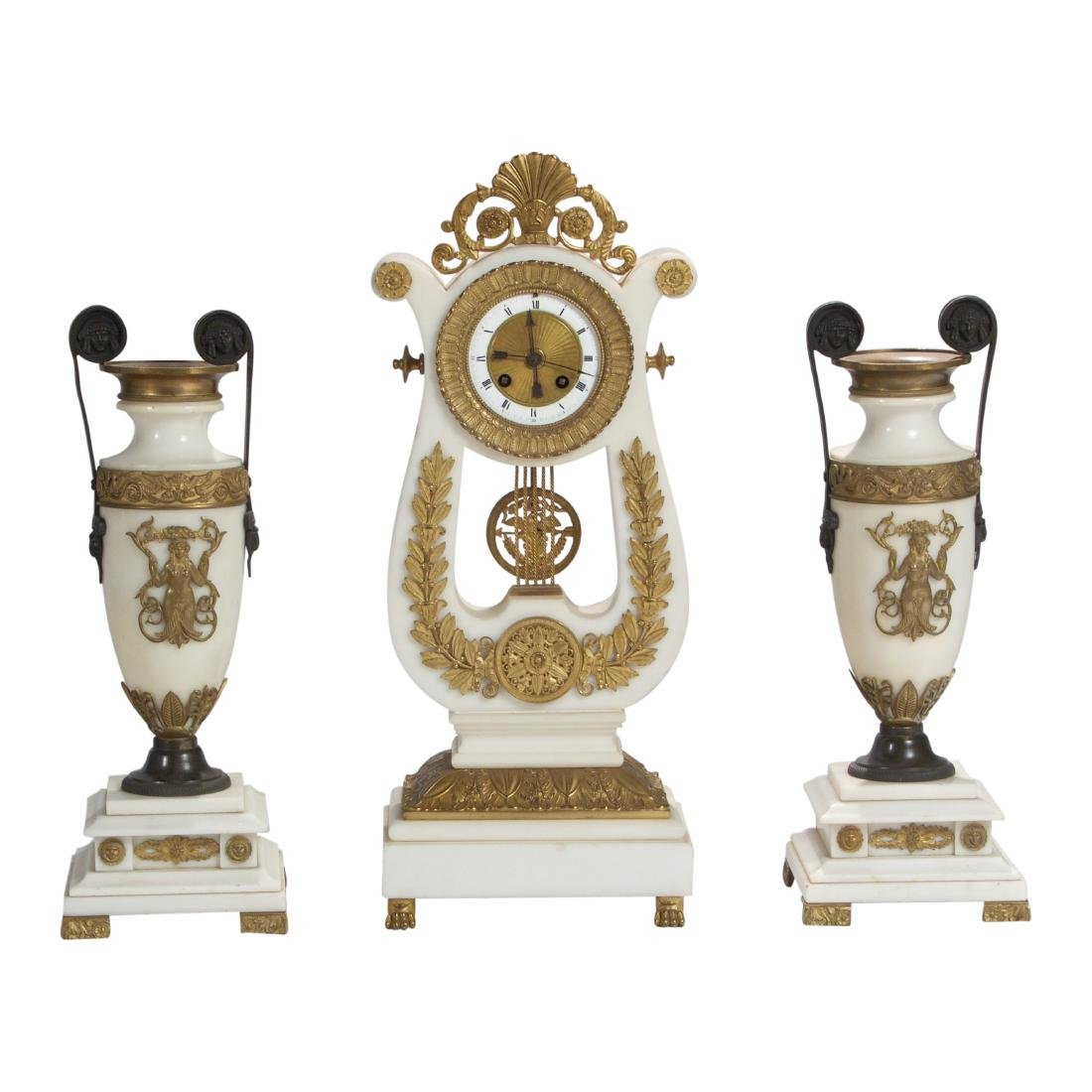 Fine Quality White Marble Ormolu Mounted Lyre Form