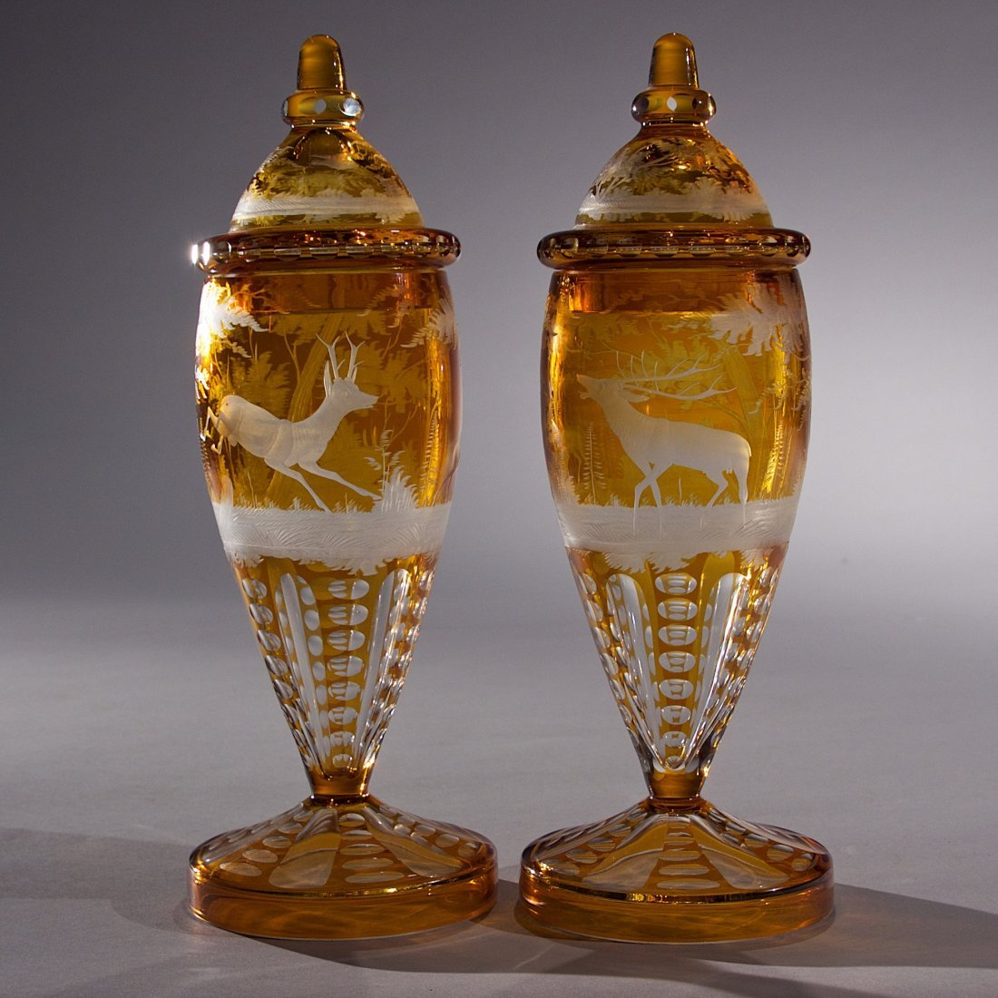 Pair of Amber Color Bohemian Covered Vases