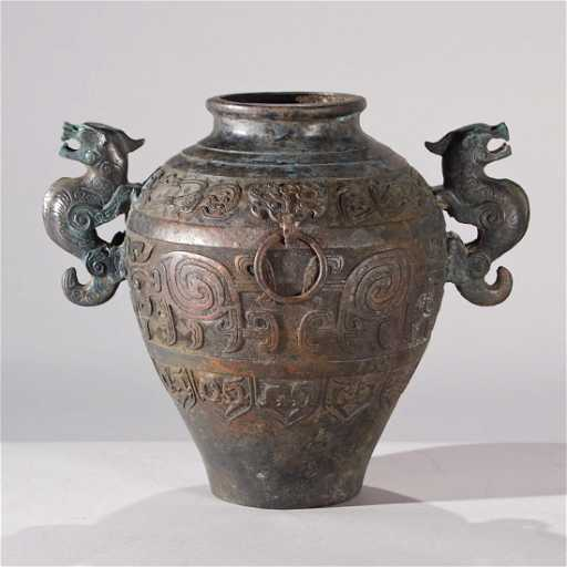 Chinese Bronze Vase With Dagon Handles