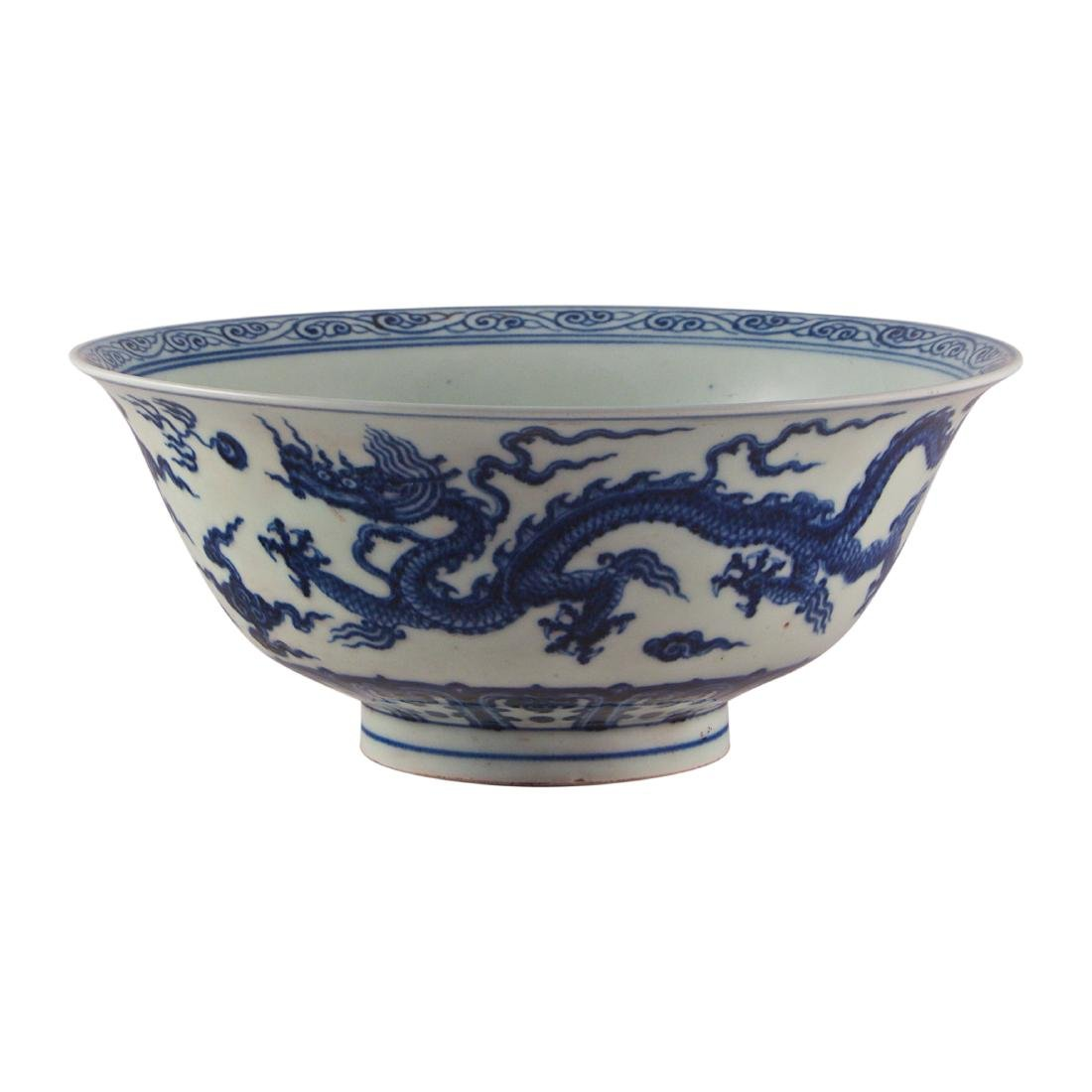 A Chinese Blue and White Dragon Bowl