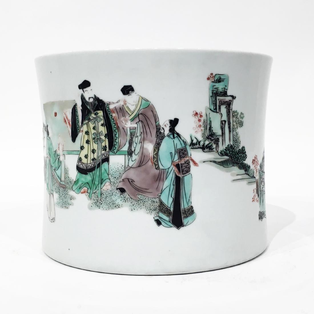 A Chinese Famille Verte Porcelain Brush Pot