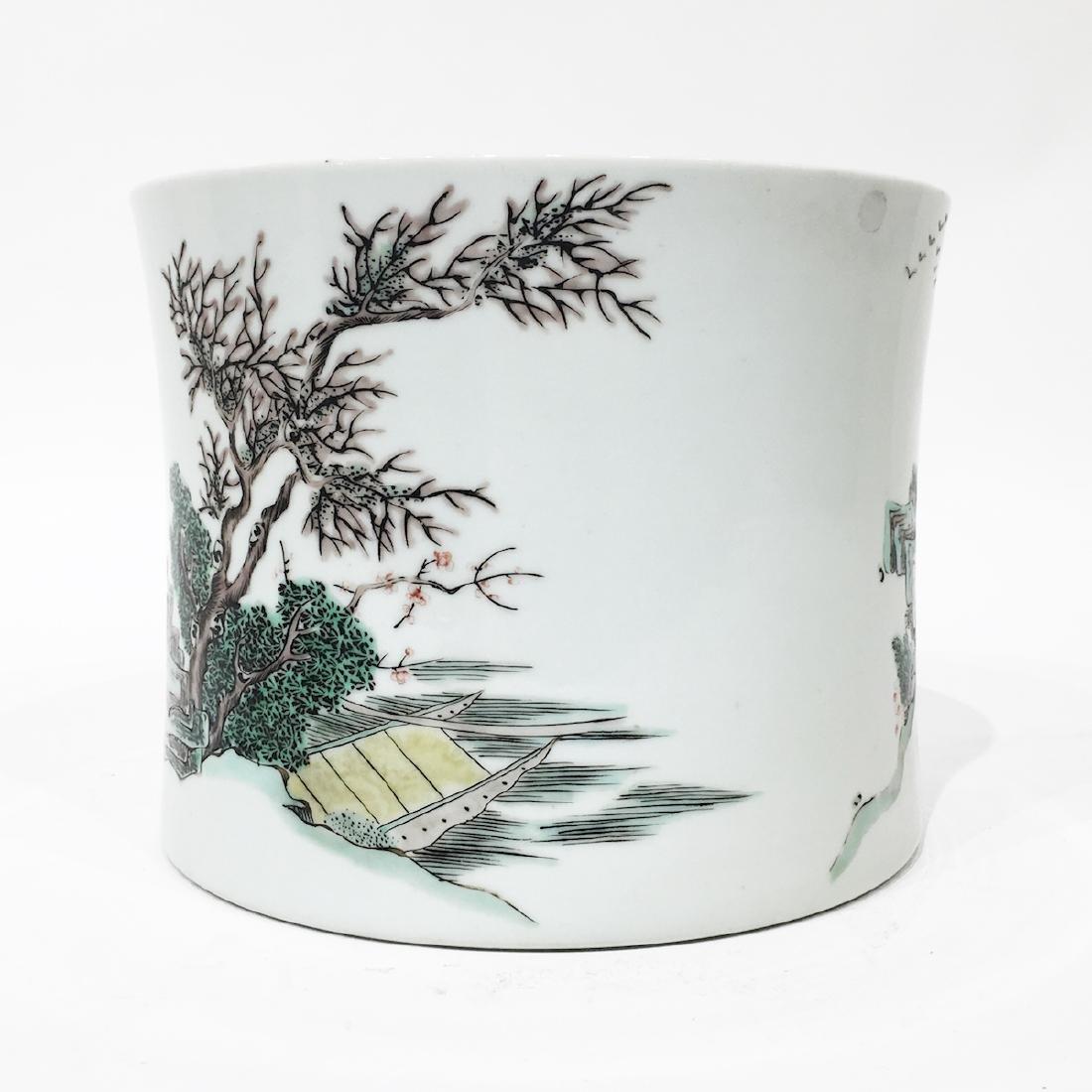 A Chinese Famille Verte Porcelain Brush Pot - 2