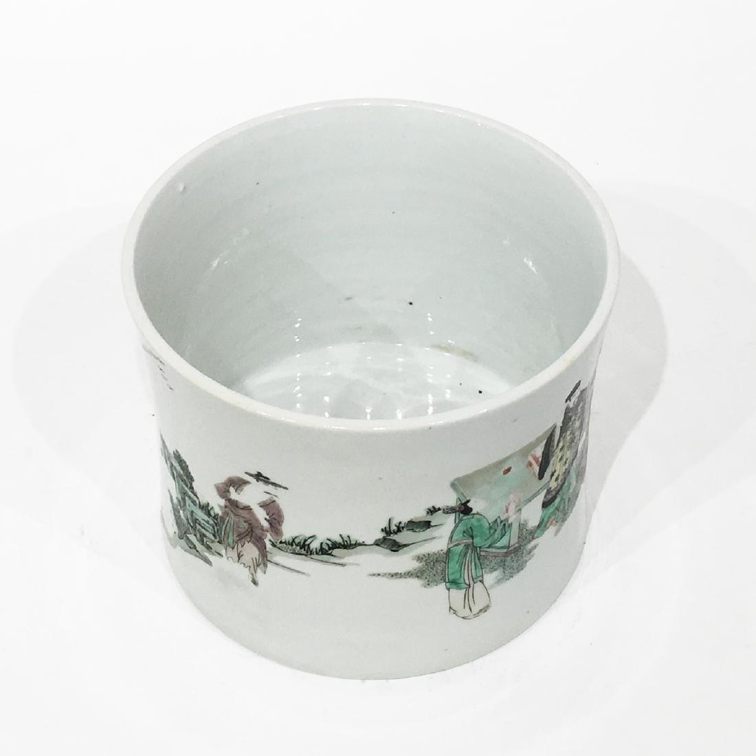 A Chinese Famille Verte Porcelain Brush Pot - 3