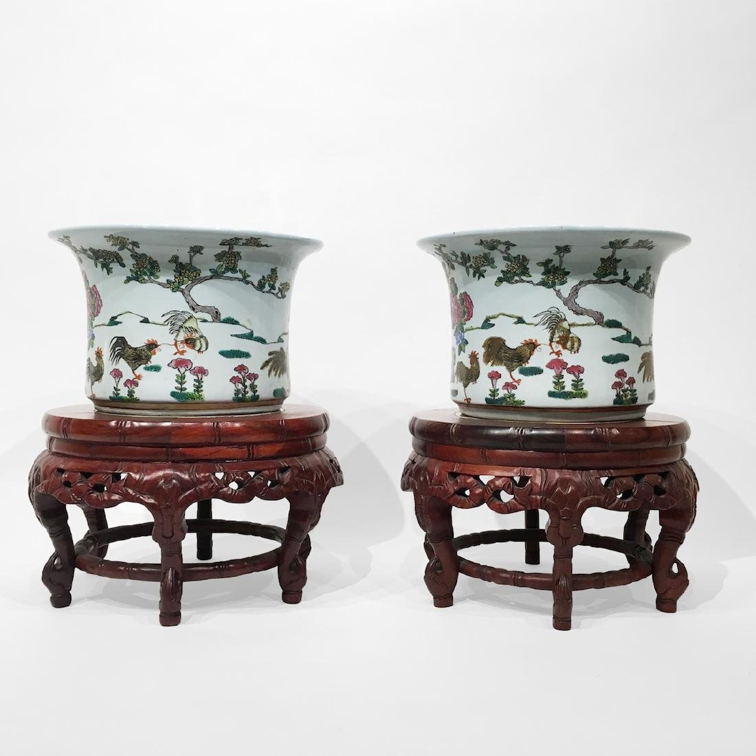 2 Chinese Planters w/ wood and marble stands.