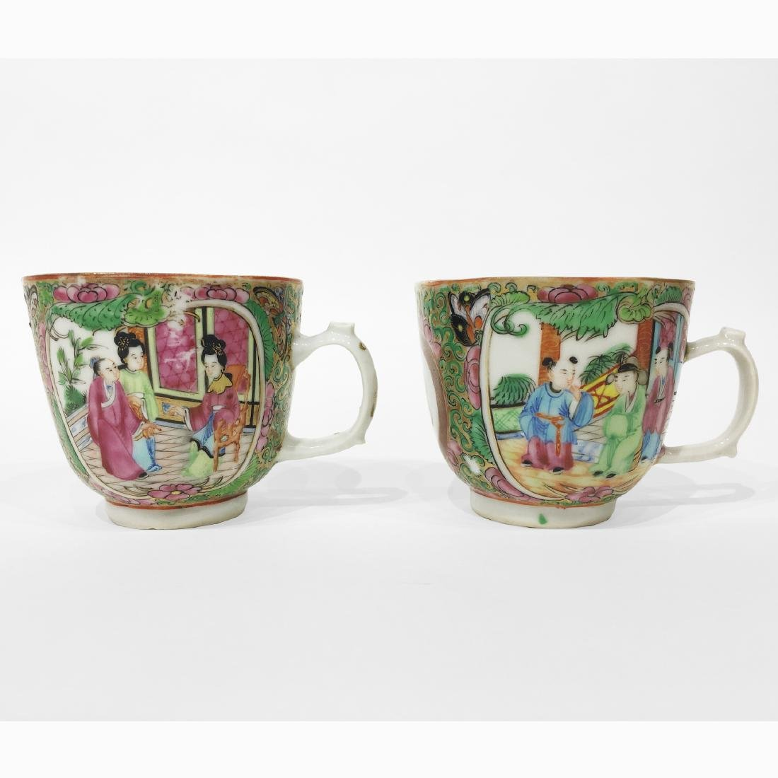 Two Chinese Export Rose Medallion Cups