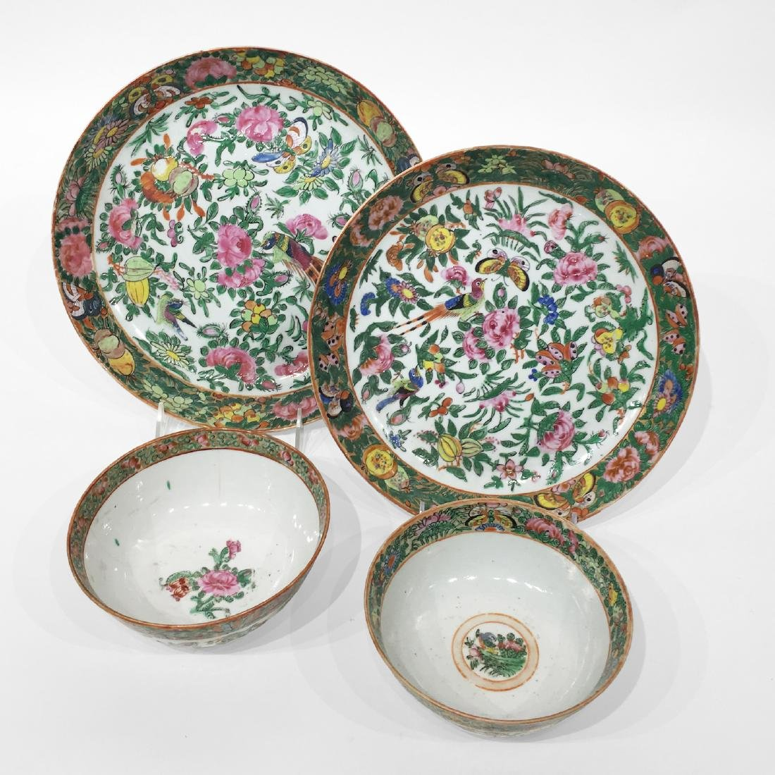 Two Rose Medallion Plates and 2 Bowls