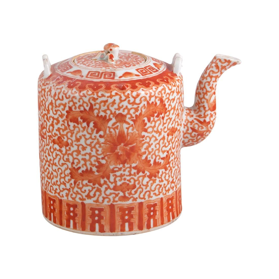 Chinese Iron Red Glazed Teapot with Lid - 2