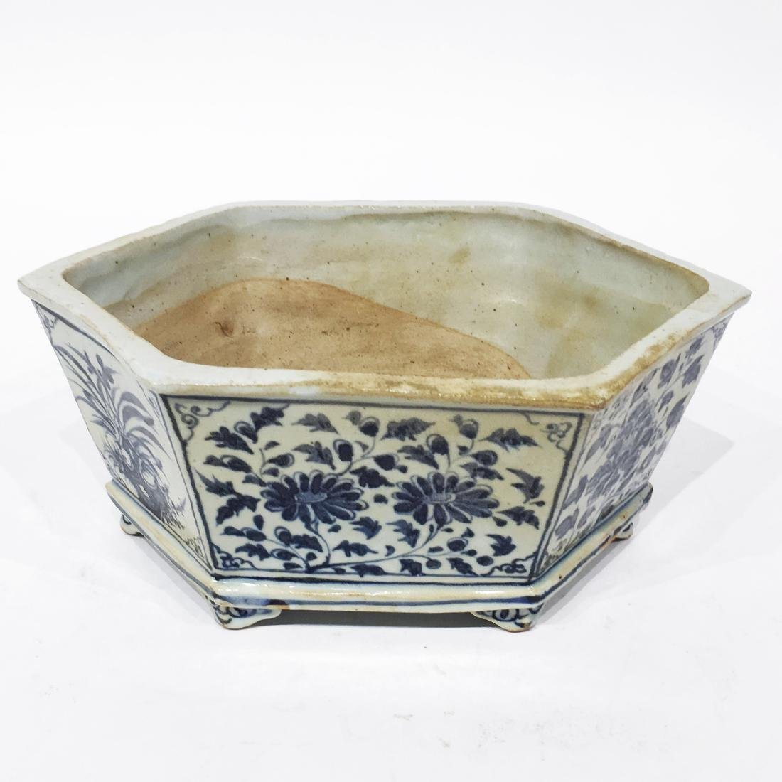 A Chinese Blue & White Flower Pot - 2