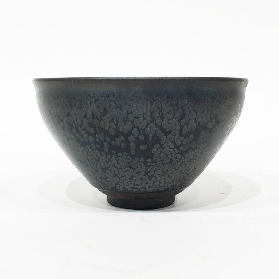 A Chinese Oil Spot Temmoku Bowl in Black Glaze