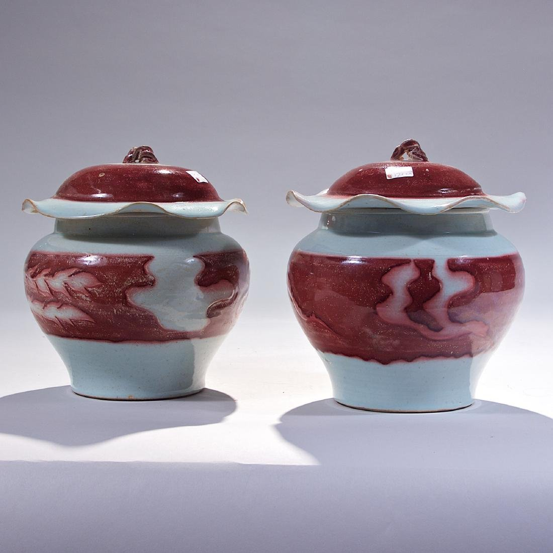 Pair of Chinese Red Glazed Porcelain Jar with Lid